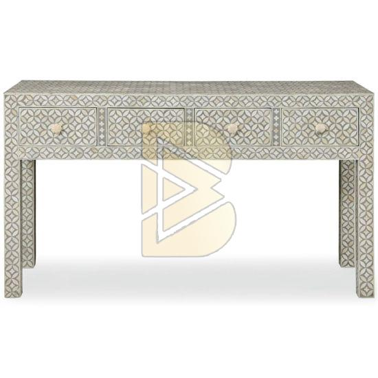 Bone Inlay 4 Drawer Geometric Design Ivory Console Table