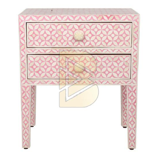 Bone Inlay Geometric Design Pink Bedside Table