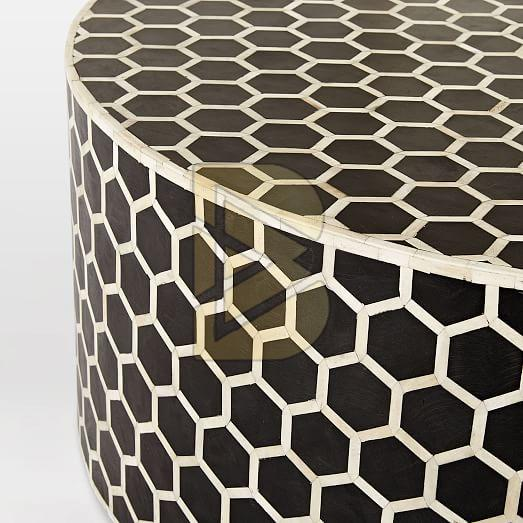 Bone Inlay Honeycomb Design Black Coffee Table 02