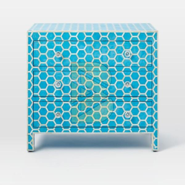 Bone Inlay Honeycomb Design Blue Chest of Three Drawer 01