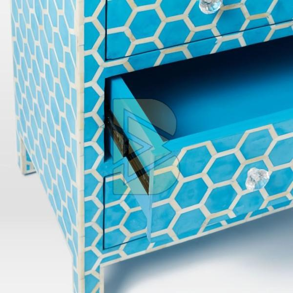 Bone Inlay Honeycomb Design Blue Chest of Three Drawer 03