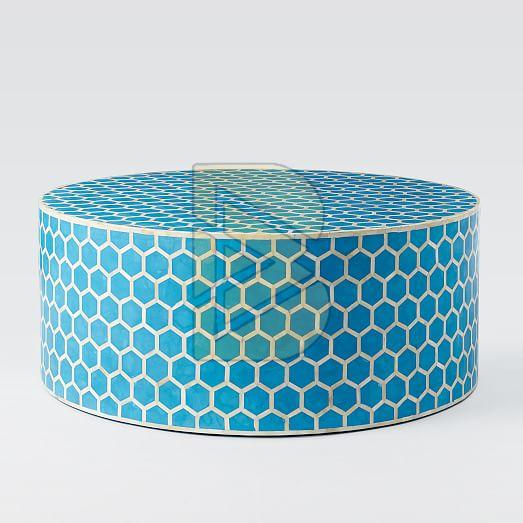 Bone Inlay Honeycomb Design Blue Coffee Table
