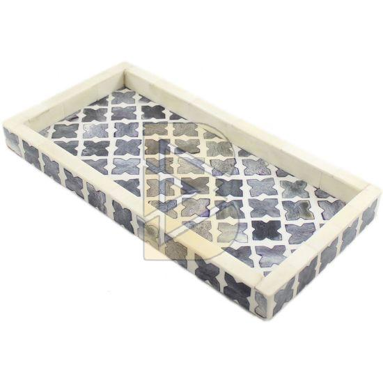 Bone Inlay Moroccan Design Charcoal Gray Tray 02