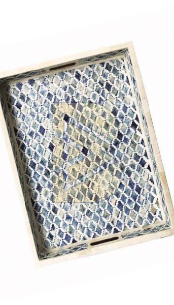 Bone Inlay Moroccan Design Ocean Blue Tray