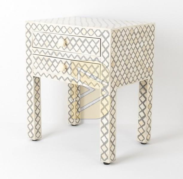 Bone Inlay Moroccan Design White Bedside Table