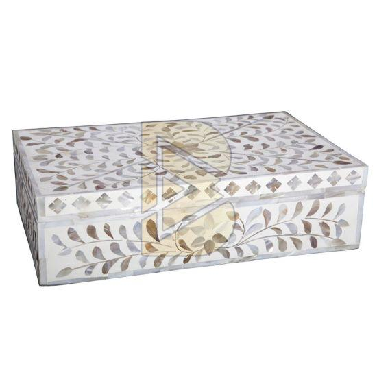 Bone Inlay Royal Floral Design White Box