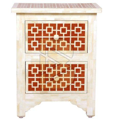 Bone Inlay Square Design Red Bedside Table