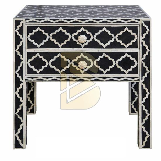 Bone Inlay Star Design Black Bedside Table 01
