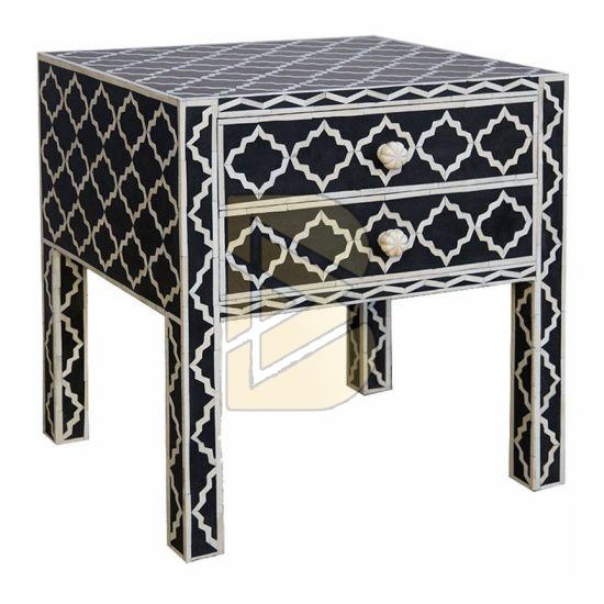 Bone Inlay Star Design Black Bedside Table 02