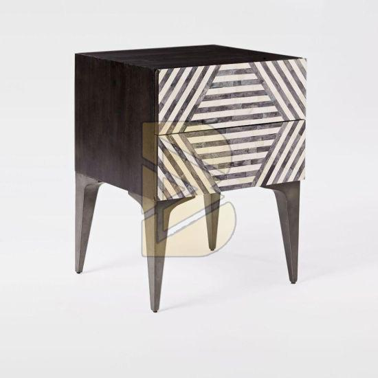 Bone Inlay Stripe Design Black Bedside Table 01
