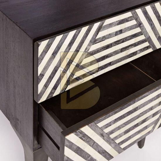 Bone Inlay Stripe Design Black Bedside Table 02