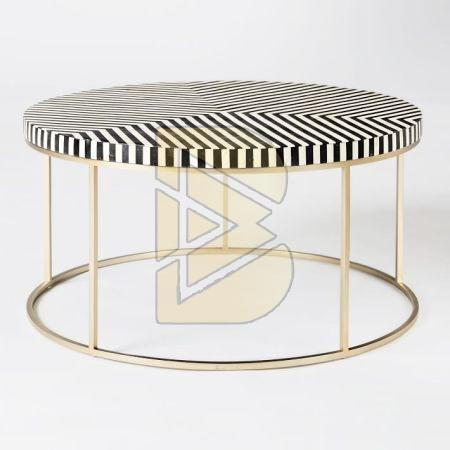Bone Inlay Stripe Design Black Round Coffee Table 01