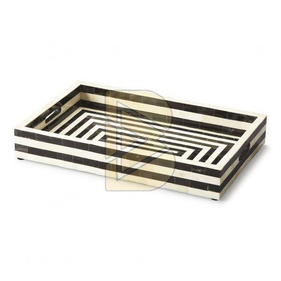 Bone Inlay Striped Design Black and White Tray