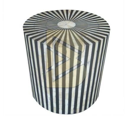 Bone Inlay Striped Design Black Drum / End Table 01