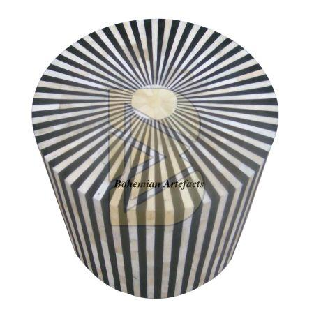 Bone Inlay Striped Design Black Drum / End Table 02