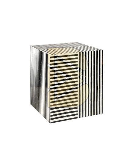 Bone Inlay Striped Design Black Square End & Side Tables