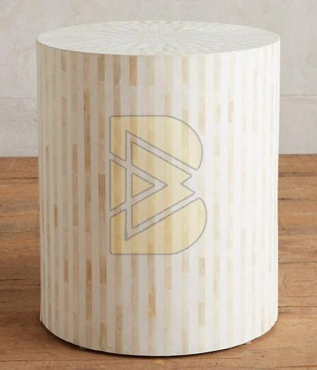 Bone Inlay Striped Design White Drum Shaped End Table
