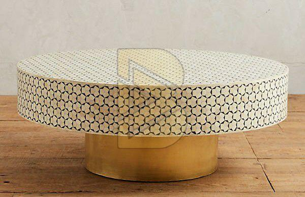 Bone Inlay Targua Geometric Design Turquoise Blue Coffee Table 01