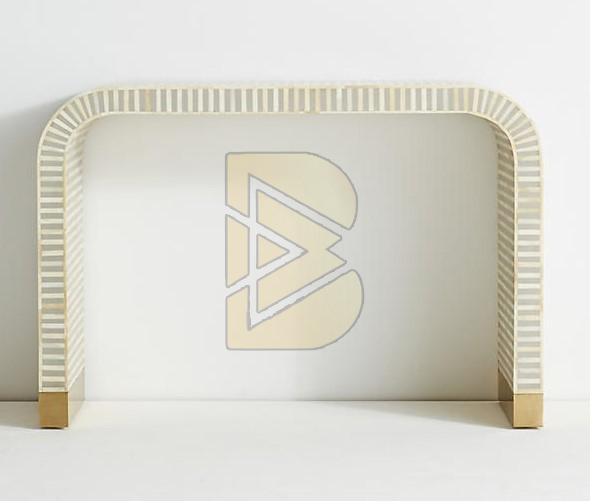 Bone Inlay Waterfall Striped Design Console Table