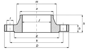 ANSI, ASME, ASA, B16.5 150lb/sq.in. WELDING NECK FLANGE RF