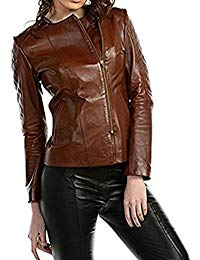 Womens Lambskin Brown Leather Biker Jacket 01