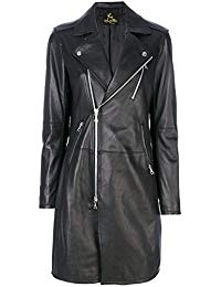 Womens Lambskin Black Leather Long Jacket 01