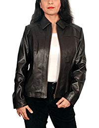 Womens Lambskin Leather Short Peacoat Jacket 01