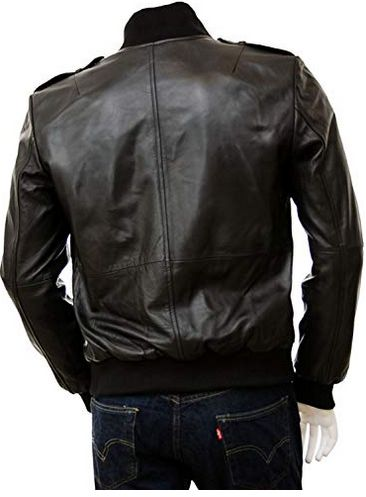 Mens Full Grain Leather Bomber Jacket