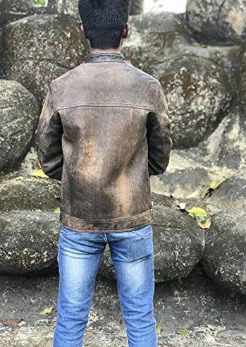 Mens Vintage Distressed Brown Leather Jacket 02