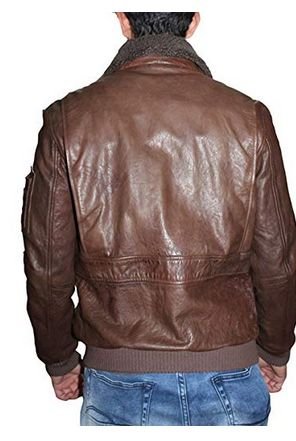 Mens Lambskin Leather Shearling Collar Bomber Jacket 02
