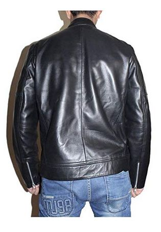 Mens Sword Black Lambskin Leather Biker Jacket 02