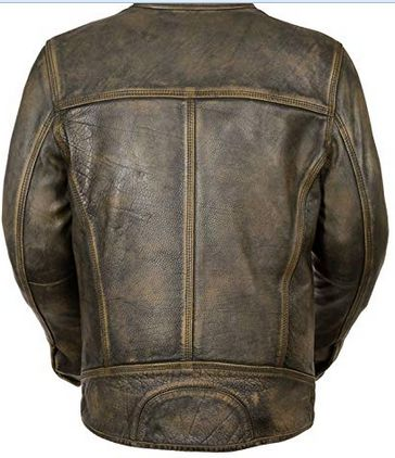 Mens Vintage Distressed Black Leather Jacket 02