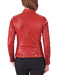 Womens Lambskin Red Leather Biker Jacket 02