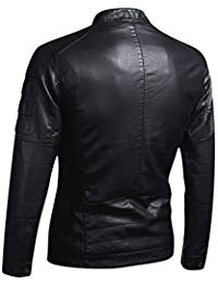 Mens Lambskin Charcoal Black Leather Biker Jacket 02