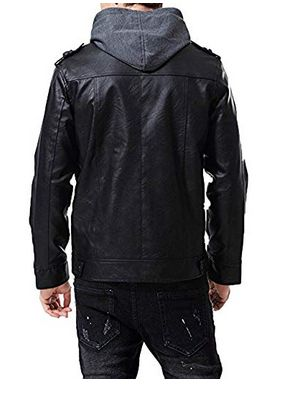 Mens Lambskin Black Leather Hoodie Biker Jacket 02