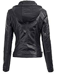 Womens Lambskin Leather Hoodie Biker Jacket 02