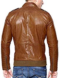 Mens Lambskin Tan Brown Leather Biker Jacket 02
