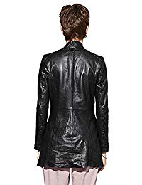 Womens Lambskin Black Leather Coat 02
