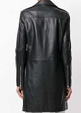 Womens Lambskin Black Leather Long Jacket 02