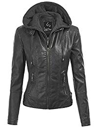 Womens Lambskin Leather Hoodie Biker Jacket 01