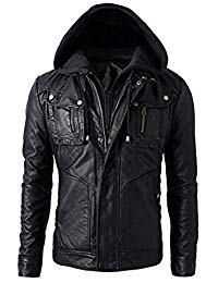 Mens Leather Detachable Hoodie Biker Jacket 01