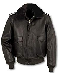 Mens Lambskin Black Leather Bomber Jacket 01