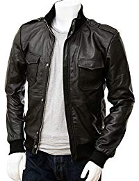 Mens Full Grain Leather Bomber Jacket 01