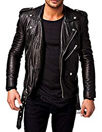 Mens Lambskin Black Leather Jacket 01