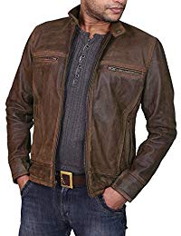 Mens Lambskin Military Brown Leather Biker Jacket 01