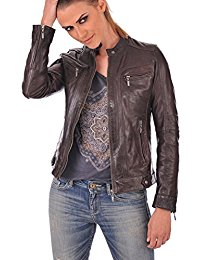 Womens Lambskin Brown Leather Bomber Jacket 01