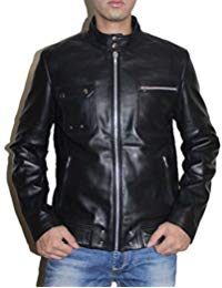 Mens Sword Black Lambskin Leather Biker Jacket 01