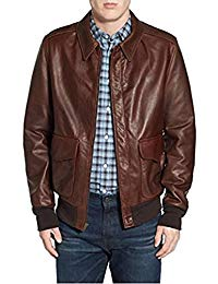 Mens Lambskin Brown Leather Biker Jacket 01