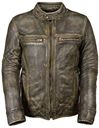 Mens Vintage Distressed Black Leather Jacket 01