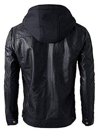 Mens Leather Detachable Hoodie Biker Jacket 02
